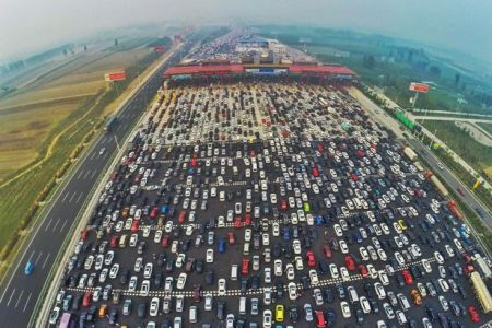 China National Highway 110 traffic jam