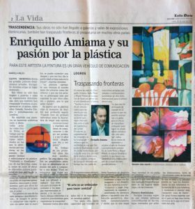 Newspaper article on the art of Enriquillo Amiama