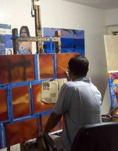 Artist Enriquillo Amiama at work