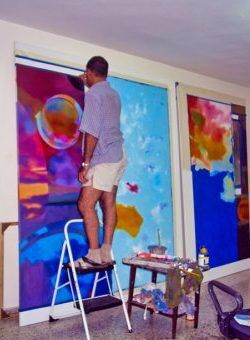 Commissioned mural painting in process. Private collection.