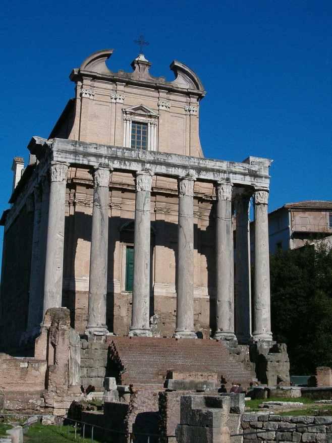 templo de Antonino y Faustina en la via Sacra