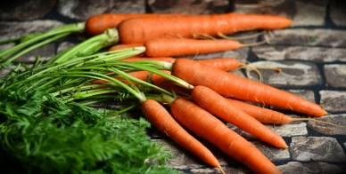 Propiedades de la materia: el volumen que ocupa las zanahorias es extensivo, pero su color anaranjado es intensivo.