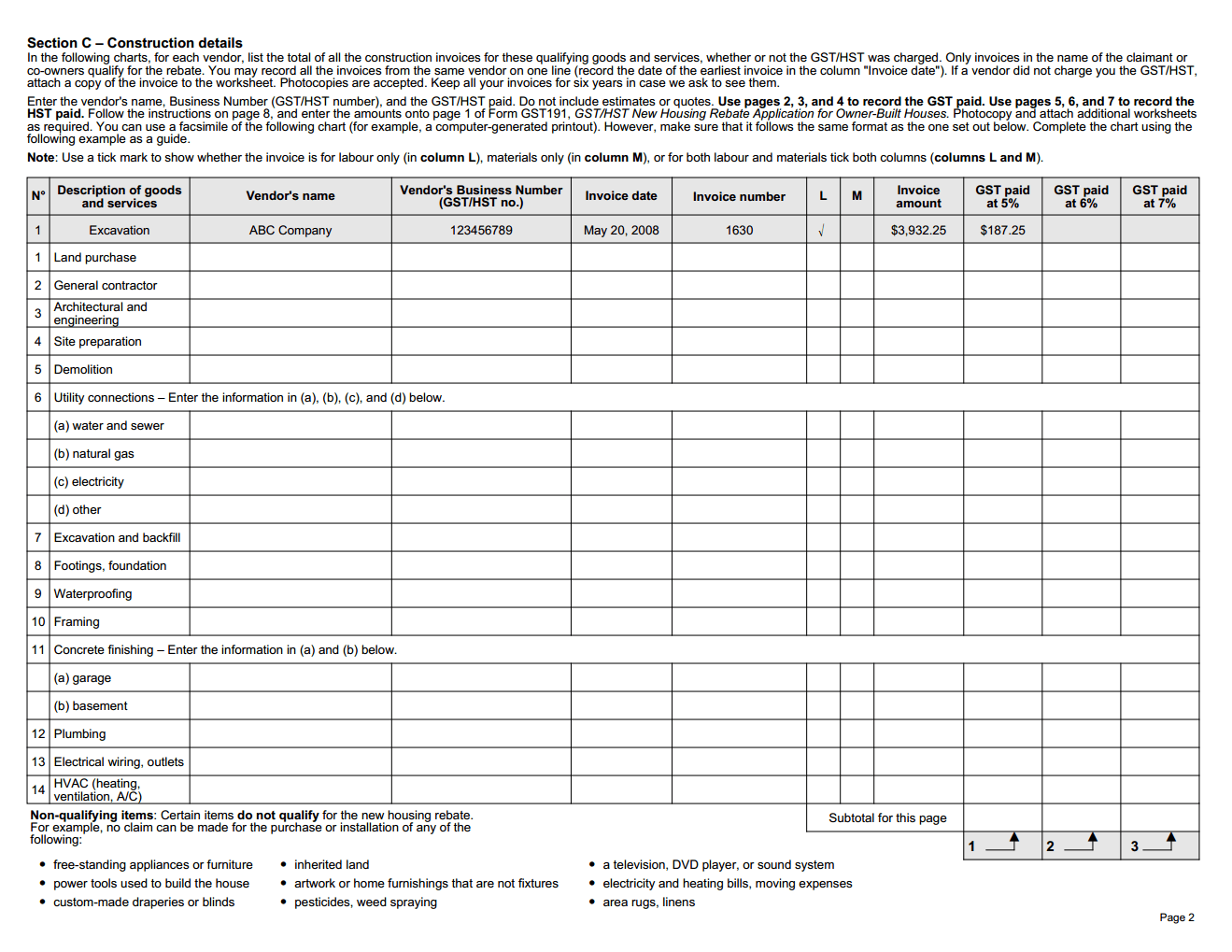 Construction Summary Worksheet For New Housing Tax Rebate