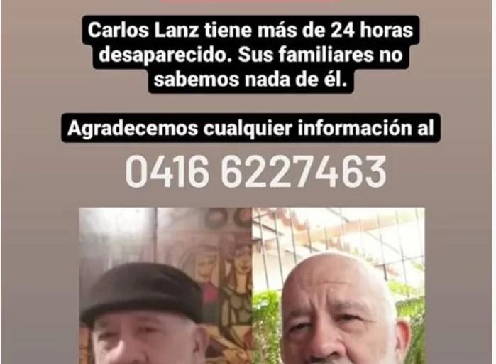 Urgente: Familiares reportan desaparición de Carlos Lanz