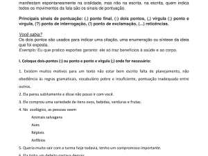 Folha de exercícios para ensinar português para estrangeiros focada no uso de dois pontos, vírgula e ponto e vírgula. Com explicações práticas e gabarito.