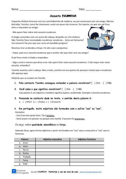 """Atividade escrita voltada para os estudantes de PLE/PFOL, com interpretação de texto, mas focada no uso prático do sufixo: """"oso/a""""."""