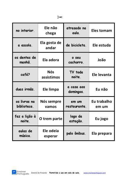 Jogo didático de dominó para aulas de português, auxiliando os estudantes a praticar estrutura de frases e conjugação do Presente do Indicativo.