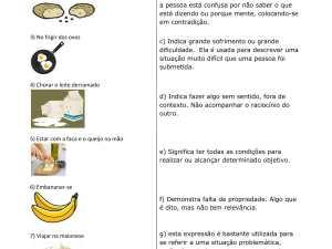 Atividade de vocabulário com algumas expressões idiomáticas relacionadas à comida aos estudantes de português para estrangeiros, bem como seu contexto.