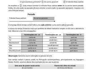 Folha de exercícios de português de gramática com gabarito focada na explicação e uso do Pretérito Mais-que-perfeito simples do Indicativo.