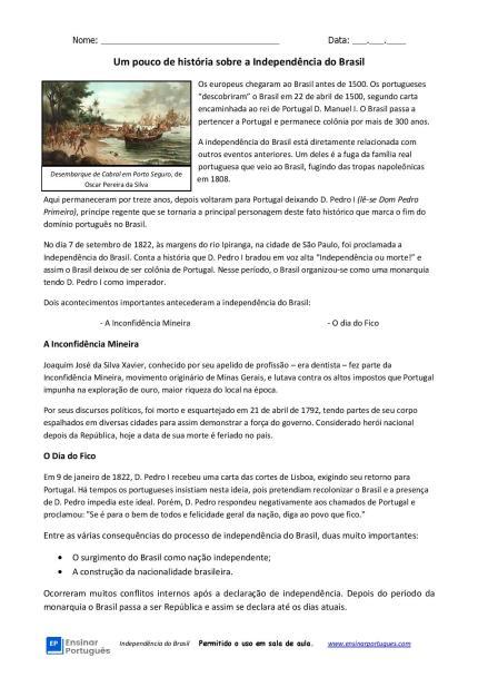 Atividade com história focada em leitura, interpretação e escrita em aulas de português para estrangeiros, níveis B1 e B2.
