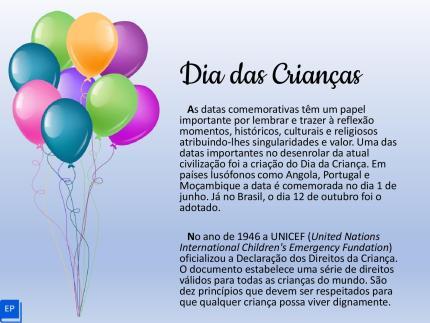 Atividade sobre o Dia das Crianças com história, leitura e muita oralidade para suas aulas de português para estrangeiros e língua de herança.