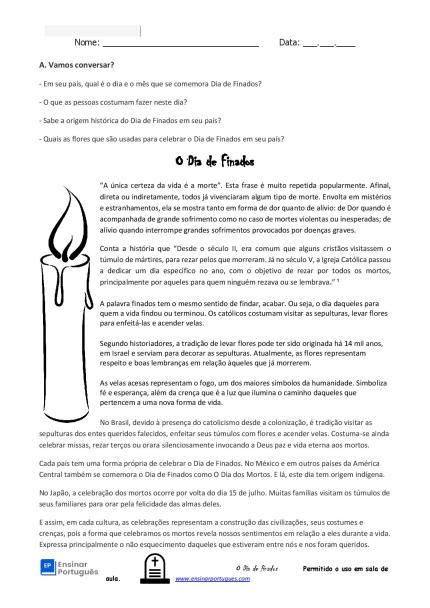 Atividade sobre o Dia de Finados com história, leitura e tradições para suas aulas de português para estrangeiros e língua de herança.