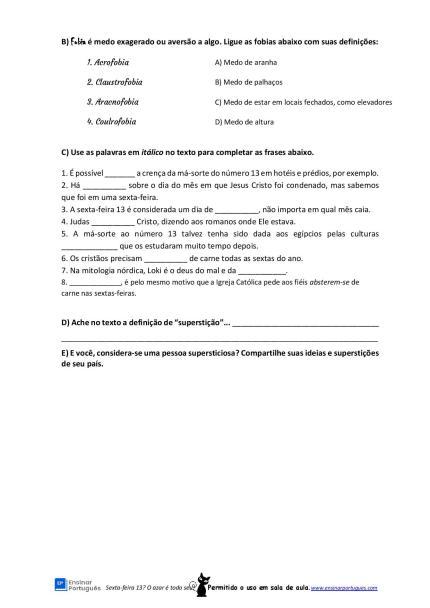 Atividade de leitura sobre a origem da superstição da sexta-feira 13 para suas aulas de português para estrangeiros.