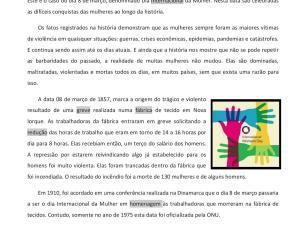 Atividade de leitura e interpretação sobre a história do Dia Internacional da Mulher, incluindo música e pontos gramaticais.