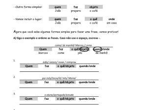 Exercícios de estruturação de frases em português para seus estudantes estrangeiros de nível A1. Com explicações e gabarito!