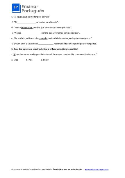 Exercícios baseados em um texto sobre imigração que traz sufixos e uso de expressões para ampliação de vocabulário.