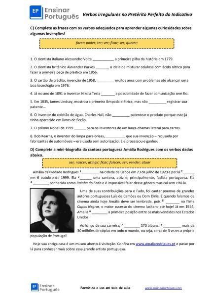 Exercícios no Pretérito Perfeito do Indicativo com gabarito focados nos verbos irregulares, com explicações e gabarito!