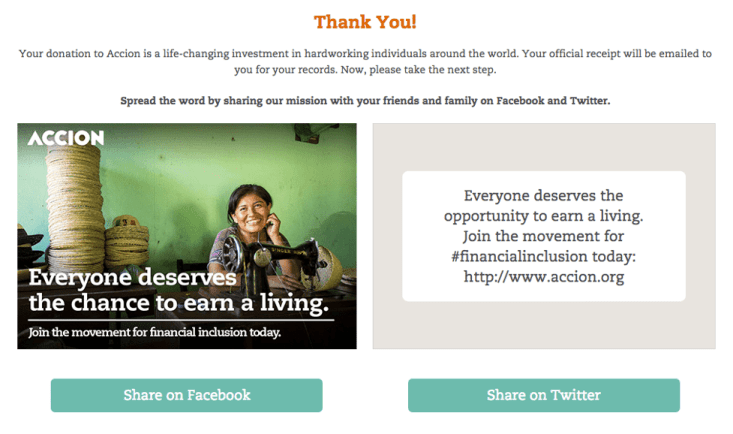 "Good ""Thank You"" pages provide donors with shareable buttons to spread their messages immediately after the donation process."