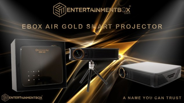 EBox Air Gold portable MDI i5 projector, Android 5.1, Kodi 17, Full HD, 3D, 900 Lumens, 36 to 200 inch projection, 2K/4K video decoding.