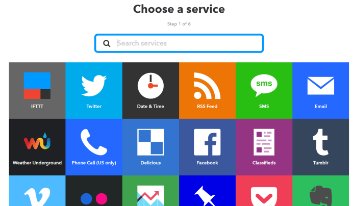 Step 1 of 6 Choose a service