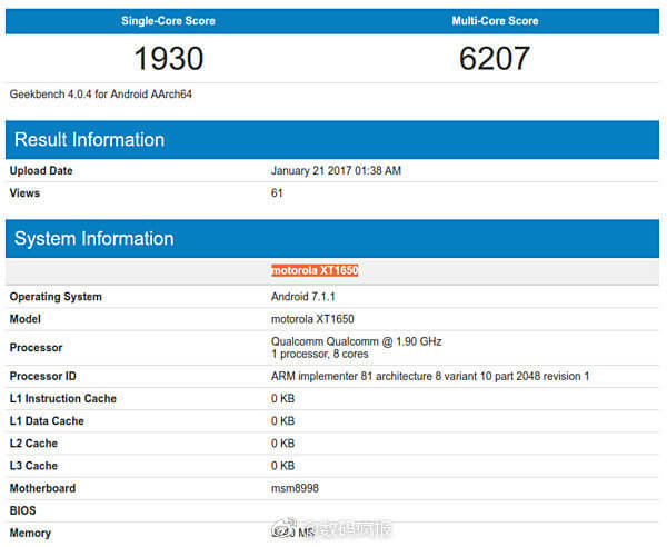 Alleged Moto Z2 specs and scores at GeekBench
