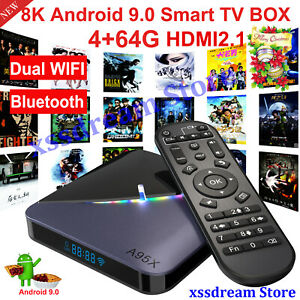 NEW A95X F3 8K UHD 4+64G Android 9.0 Dual WIFI BT TV BOX Amlogic S905×3 USB3.0