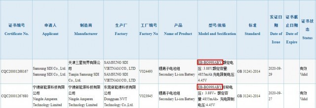 Samsung Galaxy S21 Ultra Battery Listed at 3C Regulatory Agency