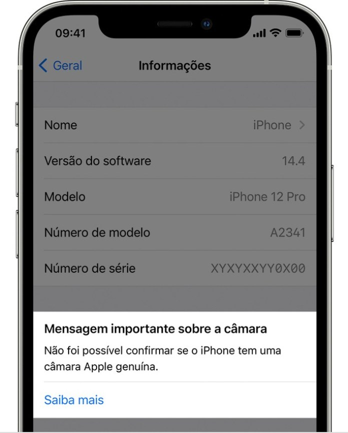 This is the message you will see if a non-genuine camera is placed on your iPhone 12