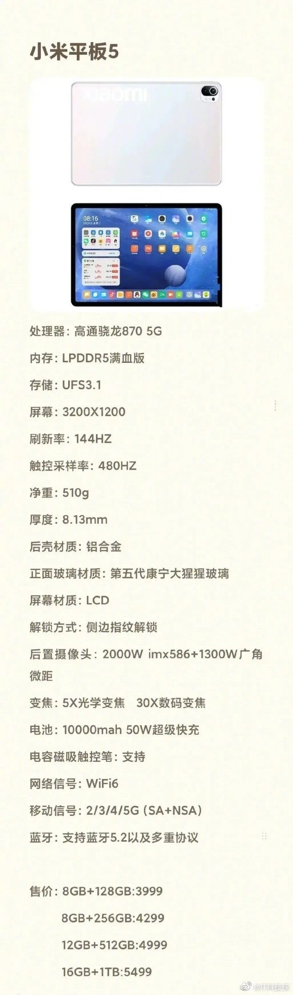 Alleged specifications of the Xiaomi Mi Pad 5