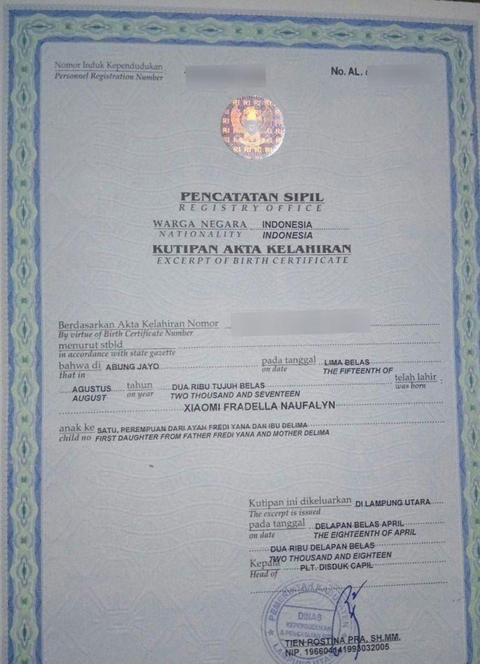 Document proving the registration of Xiaomi Fradella