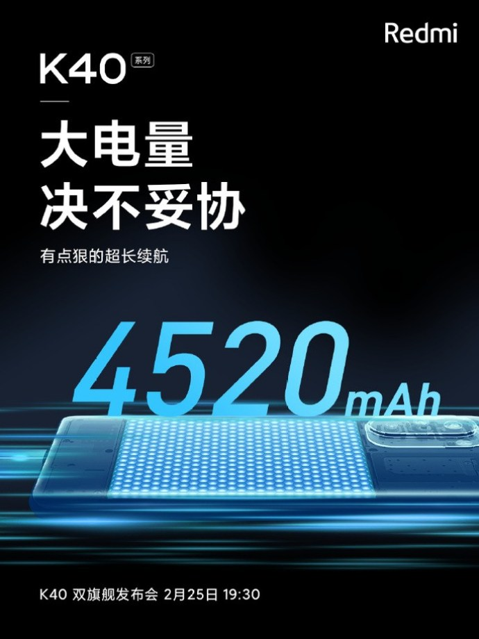 4520mAh battery confirmed in the Redmi K40