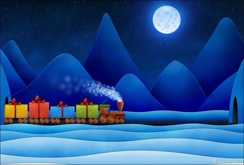 christmas train wallpaper