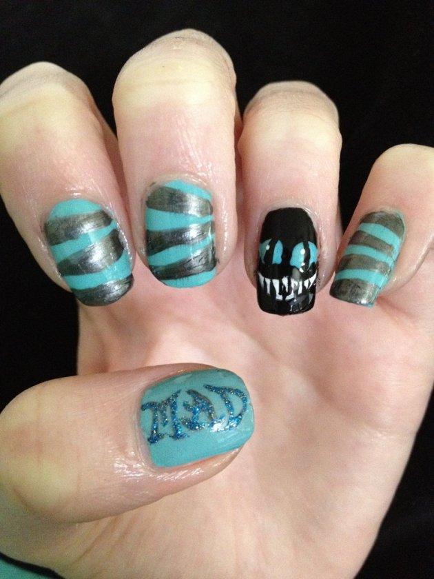 Cheshire Cat Nails 2 - Tim Burton Style