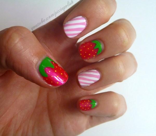 Strawberries 'n Cream Nail Art