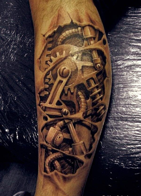3D Machine Arm Tattoo