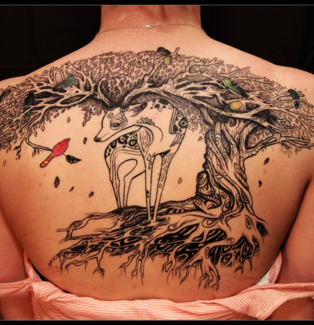 Deer Tree Tattoo