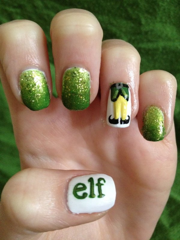 elf Christmas Nail art design idea