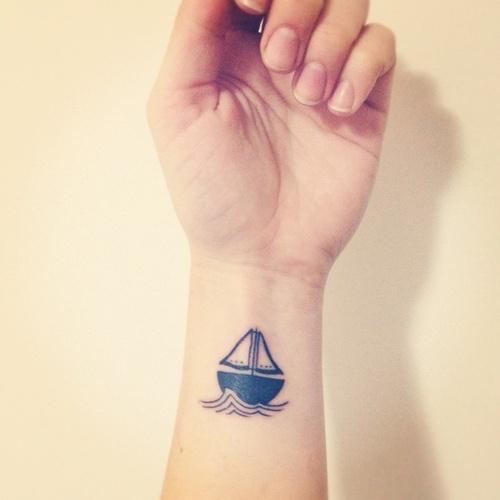 Sailing Boat Minimal Tattoo