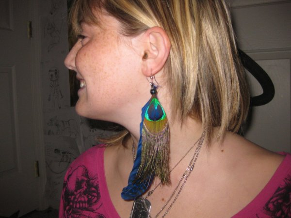 clipped peacock feather earrings