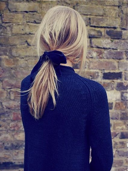 Ponytail with ribbon