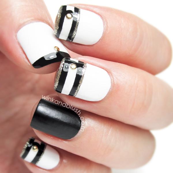 22 black and white nail design