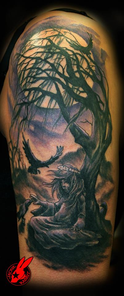 Gothic Girl and Tree Tattoo