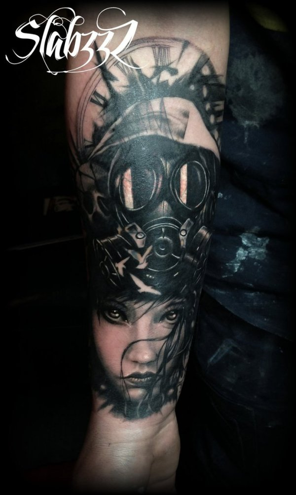 Gothic holocaust gas mask chick tattoo