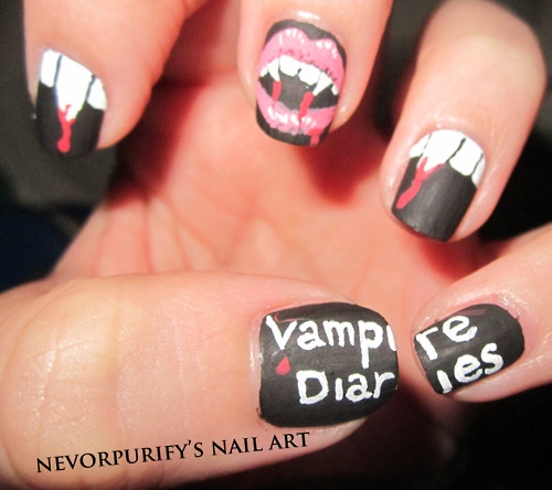 scary vampire diaries nail art for halloween