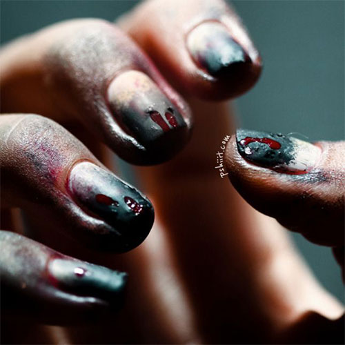 scary zombie nail art for halloween