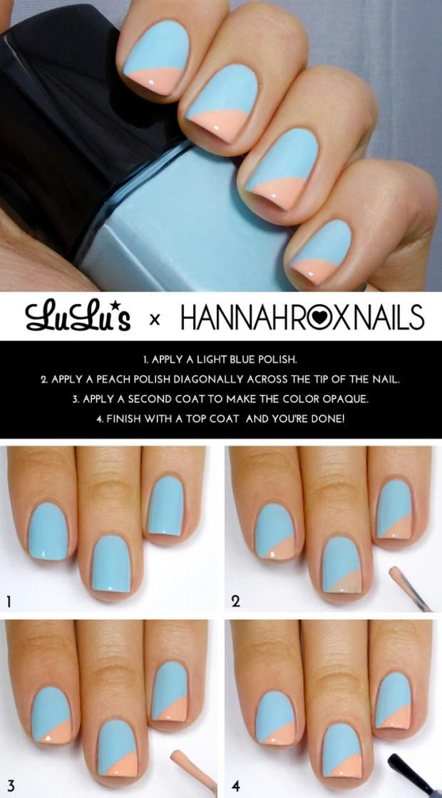 Light Blue and Peach Angled Tip Mani