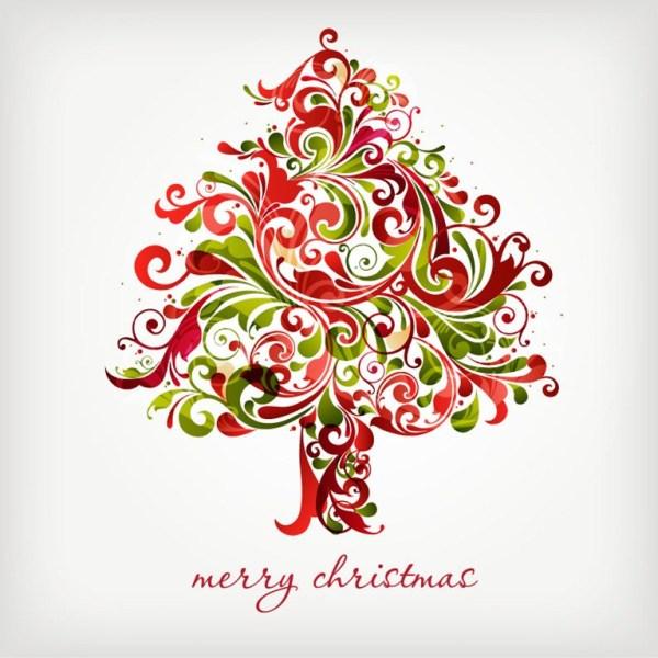 Merry Christmas Floral Swirls Tree