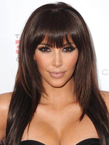 Kim Kardashian Long Layered Bangs