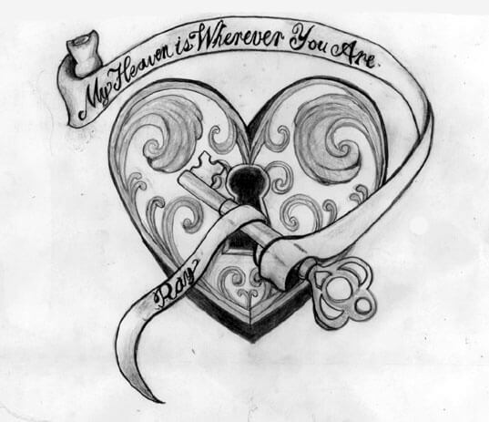 A Heart Touching Quote heart and key tattoo