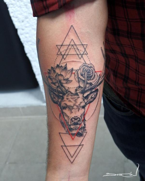 Deer and Flowers Tattoo on Forearm with Red Accent